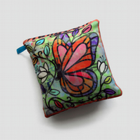Little silk cushion, butterfly and flowers unique design home decor, cute gifts