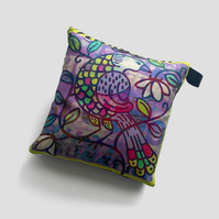Bird cushion, small lilac silk cushion with bird illustration, art print pillow