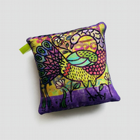 Small peacock cushion, little silk pillow for home decor, new home gift