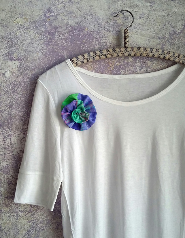 Textile ruffle flower pin, green blue elegant lapel brooch hand sewn floral gift