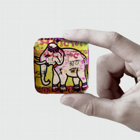 Elephant jewellery brooch pin, textile handmade India animal art print on silk