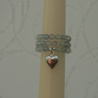 Rainbow Fluorite and Sterling Silver Charm Ring - Set of Three Rings