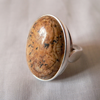 Picture Jasper Sterling Silver Ring 25x18mm