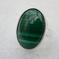 Malachite Sterling Silver Ring 25x18mm