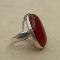 Reduced from £35 to Clear!! Carnelian Sterling Silver Statement Ring Size L