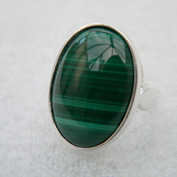 SUMMER SALE!! REDUCED FROM £35!! Malachite Sterling Silver Ring 25x18mm