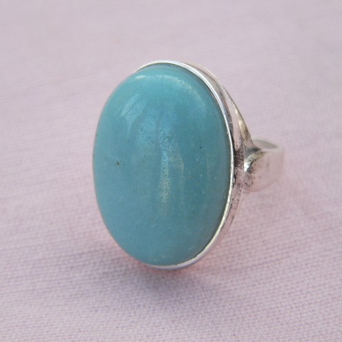 Chinese Amazonite Sterling Silver Ring 25x18mm