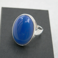 Blue Agate Sterling Silver Ring 18x13mm