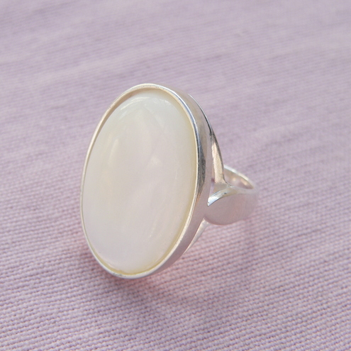 Huge Statement Mother of Pearl Sterling Silver Ring 40x30mm