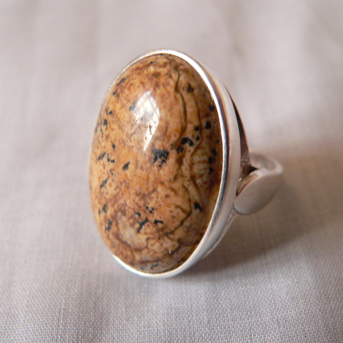 Picture Jasper Sterling Silver Cocktail Ring