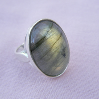 Labradorite Sterling Silver Cabochon Ring