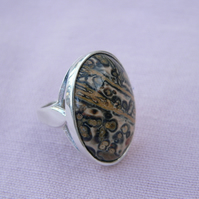 Leopardskin Jasper Sterling Silver Statement Ring