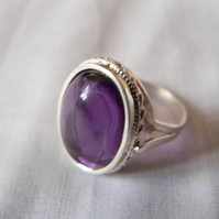 Amethyst Sterling Silver Ring Size N