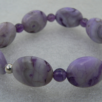 Purple Crazy Agate and Amethyst Stretch Bracelet