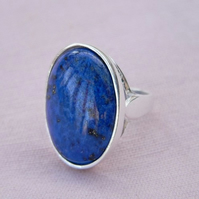 Lapis Lazuli Sterling Silver Ring 25x18mm