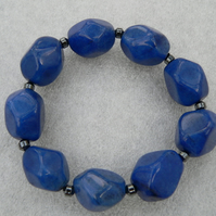 Blue Jade and Hematite Stretch Bracelet