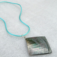 Paua Shell Pendant on Turquoise Silky Cord