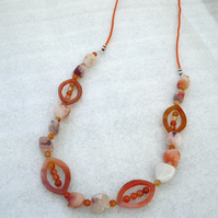 Orange Dragon Vein Agate and Carnelian Necklace
