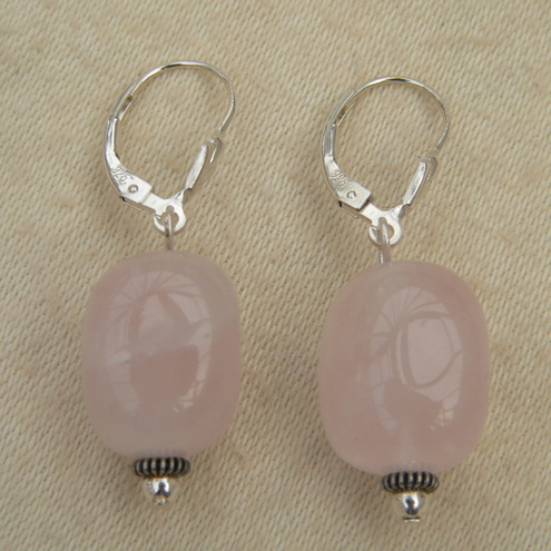 Rose Quartz Sterling Silver Leverback Earrings