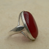 Carnelian Sterling Silver Statement Ring 18x13mm