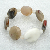 Gemstone Stretch Bracelet - Jasper and Snow Quartz