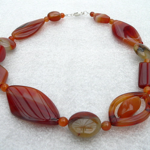 Gemstone Beaded Necklace - Agate and Jasper