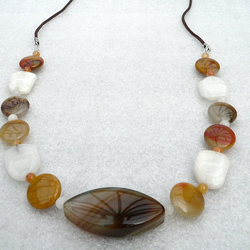 Gemstone Beaded Necklace - Agate, Jasper and Snow Quartz