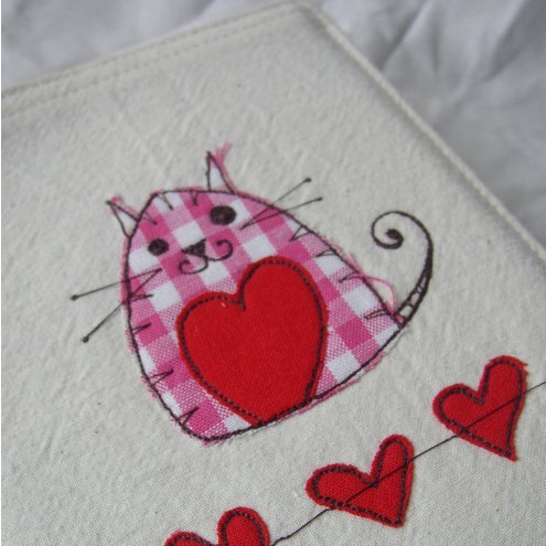 embroidered cat fabric notebook cover - A6 size