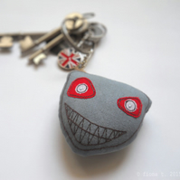 freehand embroidered zombie bag charm keyring