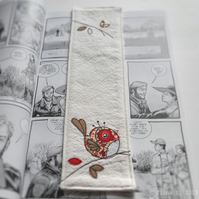 freemotion embroidered zombie robin bookmark