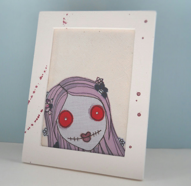 original freehand embroidered zombie girl - handmade frame