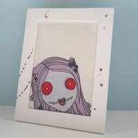 framed zombie embroidery