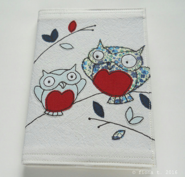 embroidered owls sketchbook