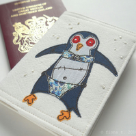zombie penguin passport cover - navy