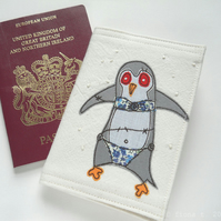 embroidered zombie penguin passport cover - grey