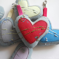 hand embroidered heart bag charm - red