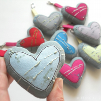 hand embroidered heart - blue
