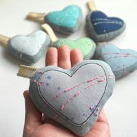 hand embroidered lavender heart - grey & pink