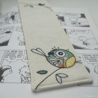 applique & embroidery bluetit fabric bookmark