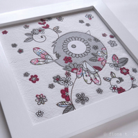 freehand embroidered floral bird original textile art