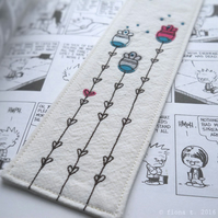 freehand embroidered fabric bookmark