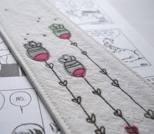 freehand embroidered floral fabric bookmark - green
