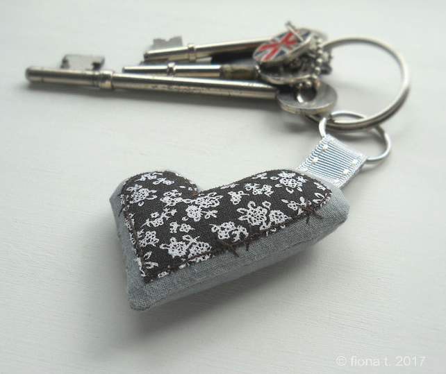 black floral heart embroidered zombie keyring