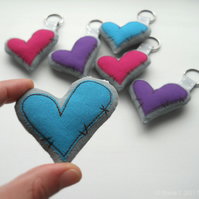 embroidered zombie heart keyrings