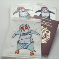 freehand embroidered zombie penguin passport cover
