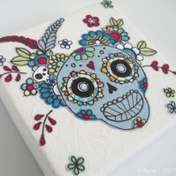 embroidered floral skull original textile art canvas