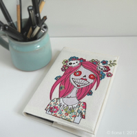 freehand embroidery applique zombie sketchbook