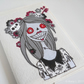 freehand embroidered sketchbook zombie textile art