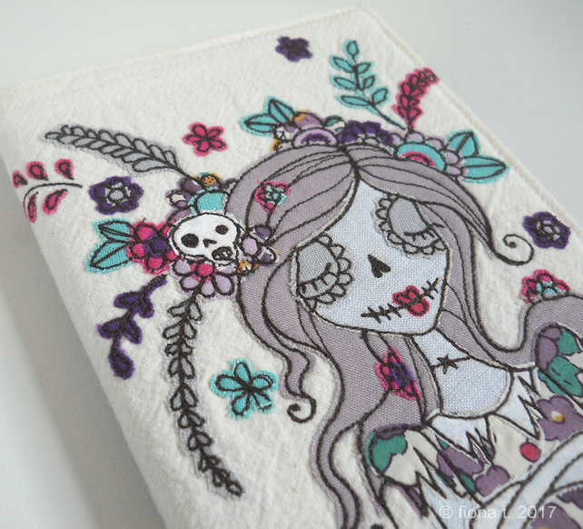 freemotion embroidered applique zombie sketchbook cover