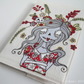 original freehand embroidered applique zombie sketchbook